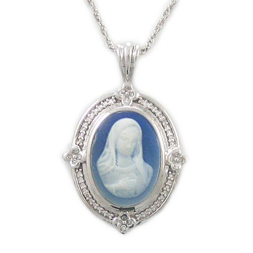 Sterling Silver Blue Agate Madonna Cameo Pendant Necklace , 18