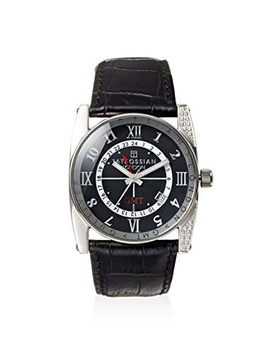 Tateossian WAT0409 Round Classical Black Leather Strap Stainless Steel Watch