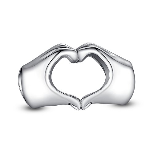 Glamulet 925 Sterling Silver Hands Over Heart Gesture Pandora Beads Charm Fits Pandora Bracelet Ideal Jewelry Gifts for Birthday, Anniversary, for Women, Mom, Wife, Girls