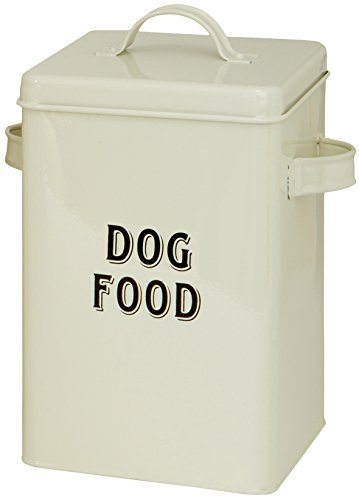 Maturi Cream Metal Dog Food Storage Container Tin with Scoop (Metal Container With Lid compare prices)