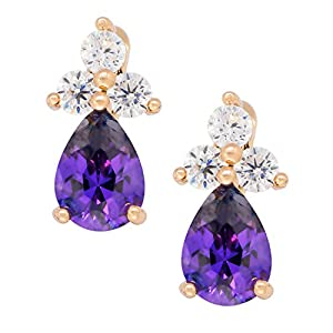 Romantic Time Demstone Clover Multicolor Gemstone Teardrop 18k Rose Plated Gold Three Prong Dangle Earrings(purple)