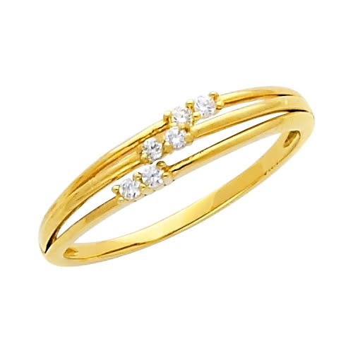 14K Yellow Gold High Poliosh Finish Round-cut Top Quality Shines CZ Cubic Zirconia Ladies Promise Ring Band - Size 5.5