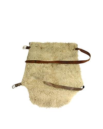Uptown Down Vintage Sheepskin Saddle Bag, White/Brown