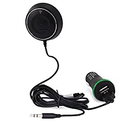 Wireless Bluetooth V4.0 Music Receiver Adapter Hands-free Car kit 3.5mm Car AUX Speaker Fast NFC Dual USB Car Charger