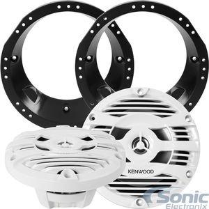kenwood-kfc-1653mrw-speakers-w-adapters-for-select-1998-2013-harley-davidson-150w-65-2-way-kfc-serie