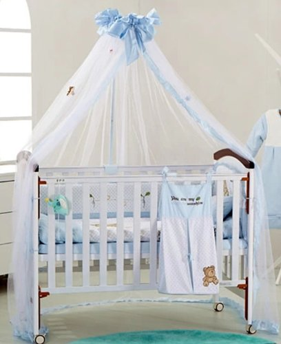 Blue/Aqu /Aquamrine Baby Canopy / Mosquito Net No Drilling No Screwing