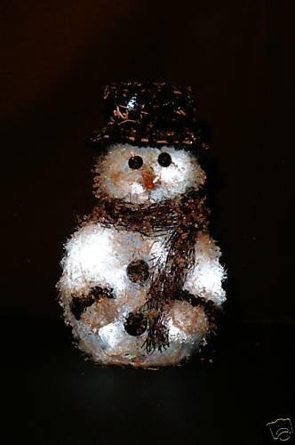Christmas Concepts 30Cm Rattan Snowman Black Hat & White Led Lights