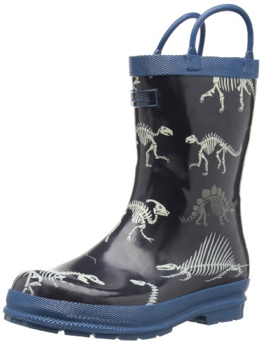 Hatley Little Boys' Children Rubber Boot-Dino Bones, Blue, 7 front-863717