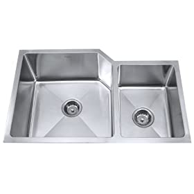 "Double Bowl Kitchen Sink Size: 32"" W x 20"" D x 10"" H"