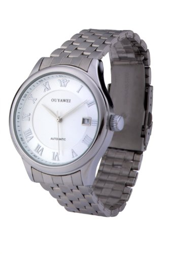 Men'S Automatic Metal White Dial Silver Bezel Stainless Steel Silver Band Mechanical Watches