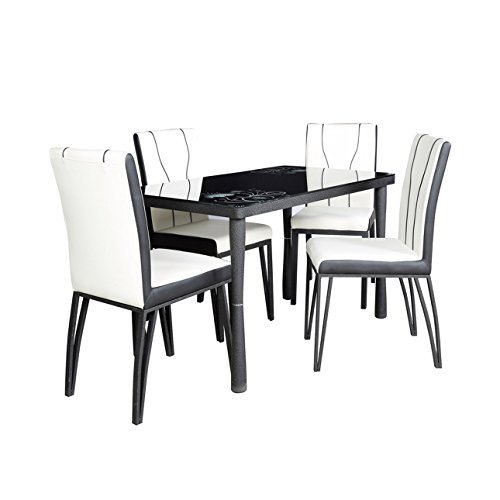 Parin PARFCFFC9 Four Seater Dining Table Set (Black and White)