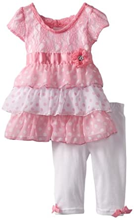 Little Lass Baby-Girls Infant 2 Piece Capri Set with Flower Detail, Pink, 24 Months