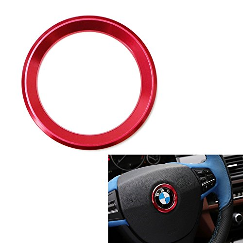 iJDMTOY (1) Sports Red Aluminum Steering Wheel Center Decoration Cover Trim For BMW 1 2 3 4 5 6 Series X4 X5 X6 (F20 F21 F22 F23 F30 F31 F32 F33 F35 F36 F10 F11 F12 F13 F26 F15 F16) (Bmw 5 Series Wheels compare prices)