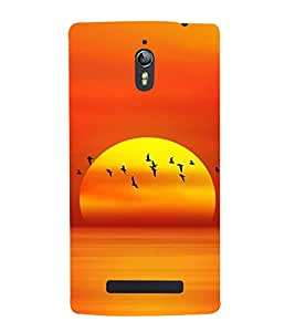 SERIES OF FLYING BIRDS AT SUNSET DEPICTING BEAUTY OF NATURE 3D Hard Polycarbonate Designer Back Case Cover for Oppo Find 7