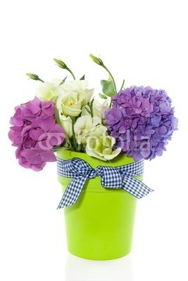 Wallmonkeys Peel and Stick Wall Decals - Purple White Flower Bouquet in Green Vase with Ribbon Isolated W - 24