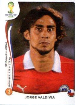 2014 Panini World Cup Soccer Sticker # 155 Jorge Valdivia Team Chile