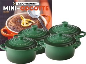 Le Creuset Set of 4 Mini Cocottes with Cookbook, Fennel