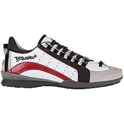 Dsquared2 scarpe sneakers uomo in pelle nuove 551 bianco