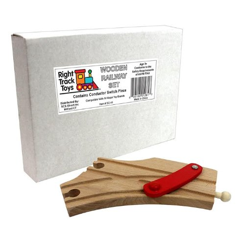 Train Track Piece - Conductor Switch Piece - 100% Compatible with All Major Brands Including Thomas Wooden Railway System