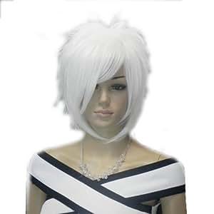 Amazon Com Qiyun Z White Short Fluffy Spiky Unisex Men
