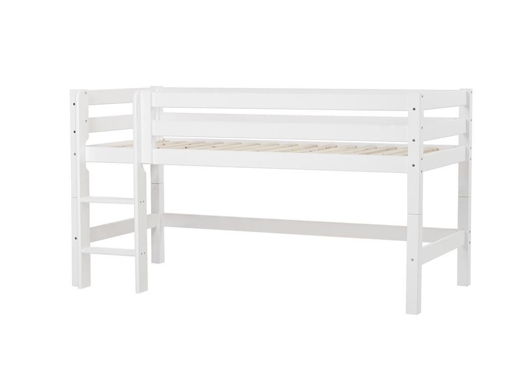 Halbhohes Bett XXL mit gerader Leiter, 70 x 160 cm Farbe: Weiß, Liegefläche: 90 x 200 cm, Lattenrost: Standard Rollrost
