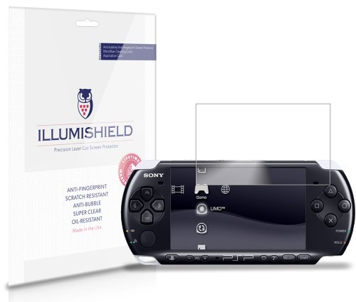 Illumishield - Sony Psp 2000 Screen Protector Japanese Ultra Clear Hd Film With Anti-Bubble And Anti-Fingerprint - High Quality (Invisible) Lcd Shield - Lifetime Replacement Warranty - [3-Pack] Oem / Retail Packaging front-250875