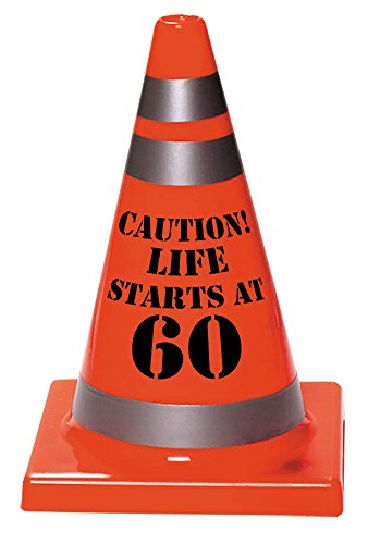 "Amscan Sleek Traffic Cone Designed Hat with ""Caution Life Starts At 60"" Print, Orange, 6 1/2"" x 4 1/2"""