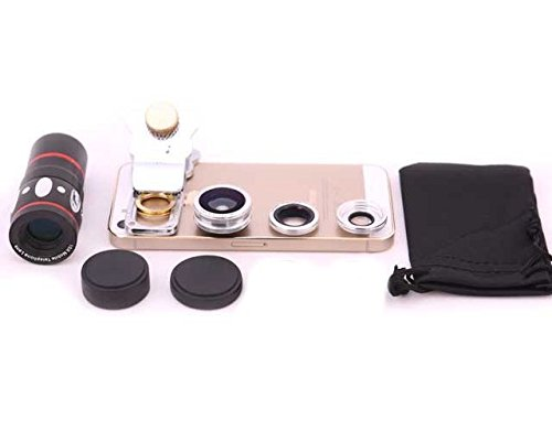 Evana Universal 3 in 1 Cell Phone Camera Lens Kit - Fish Eye Lens / 2 in 1 Macro Lens & Wide Angle Lens (Silver)