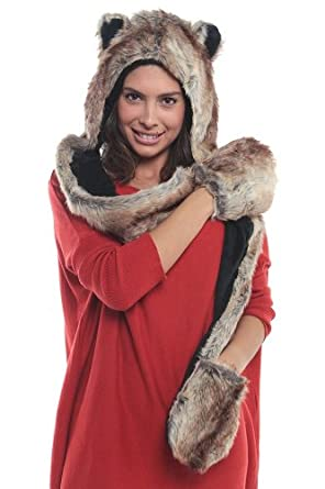 Faux FUR ANIMAL HATS HOODS BEAR BROWN ski WITH MITTENS UNISEX GLOVES SCARF WITH PAWS