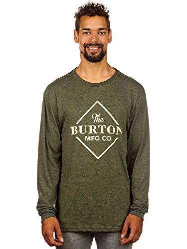 Burton, Maglietta a maniche lunghe Uomo Skidder, Verde (Rifle Green Heather), L