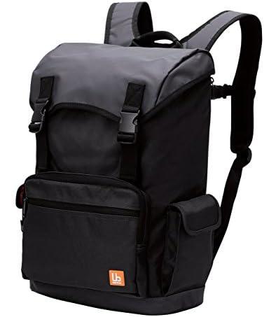 ELECOMバックパック フラップタイプ 大容量 ターボリン生地 豊富な小物ポケット付 ブラック BM-BP02BK