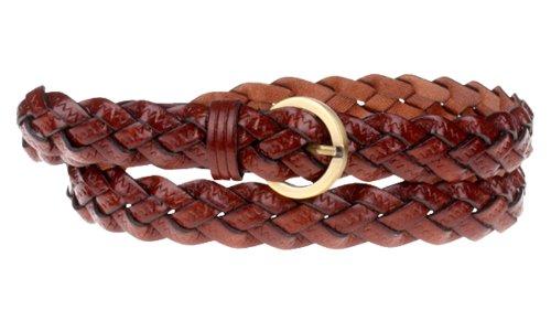 Herebuy - Designer Braided Leather Belts for Women Fashion Waist Belt (Dark Brown)