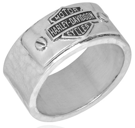 Harley Davidson SZ10 sterling Men's ring HAMMERED Bar & Shield band MOD HDR0185