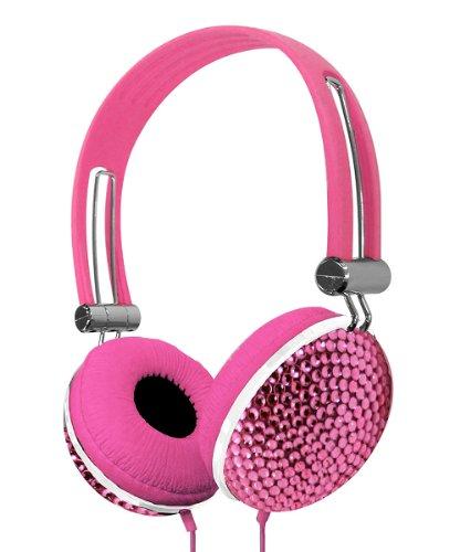 Crystal Case Rhinestone Jewel Dj Stereo Headphones (Pink)
