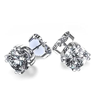 .925 Sterling Silver Cubic Zirconia Double Prong Setting Stud Earrings
