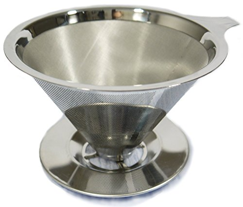 One Cup Coffee Maker by HouseBasics, Pour Over Stainless Steel Micro Mesh, Filterless, Reusable