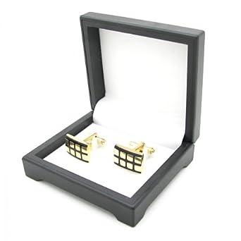 2 Edelstahl Manschettenknöpfe Gold matt glänzend Etuis Geschenkbox Krawatte Hemd, Modell:Modell 5