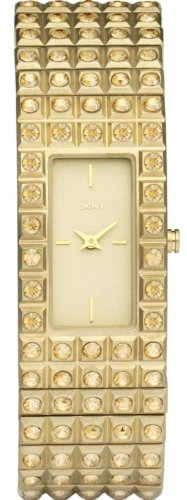 Женские наручные часы DKNY Crystals Gold-tone Expansion Bracelet Champagne Dial Women's watch #NY8245
