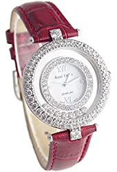 Royal Crown Ladies Red Leather Watch Langii 3628l-red Round Quartz Mother of Pearl Dial