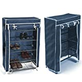 Unique Gadget Portable Folding 4 To 5 Layer Tier Shoe Rack With Wardrobe Cover