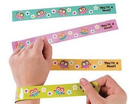 Owl Party Slap Bracelets - 12 Pc Owl Party Favors