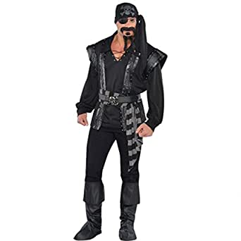 Adult Men's Dark Sea Scoundrel Pirate Buccaneer Fancy Dress Party Costume