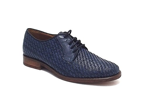 Soldini uomo, modello 19799, scarpa stile inglese in pelle intrecciata, colore blu