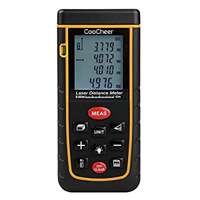 Coocheer Laser Distance Meter, Handy Laser Distance Meter with Mute Function and Removable Clip