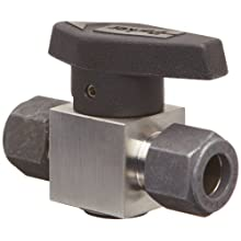 "Parker 2Z-PR4-VT-SS Stainless Steel 316 Plug Valve, 1/8"" CPI Compression Fitting"