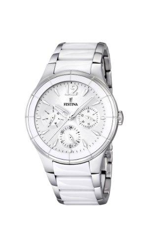 Festina F16624/1 - Reloj analógico de cuarzo para hombre con correa de acero inoxidable, color blanco