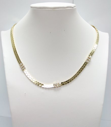 Gold Plated Chain Necklace with Cubic Zirconia Gemstones - Fashion Necklace