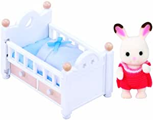 sylvanian families 2205 schokoladenhasen baby mit babybett spielzeug. Black Bedroom Furniture Sets. Home Design Ideas