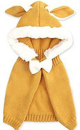 Freedi Baby Infant Girls Boys Winter Knit Warm Crochet Cape Coat Scarf Hat Cap Shawls (Ear Yellow)
