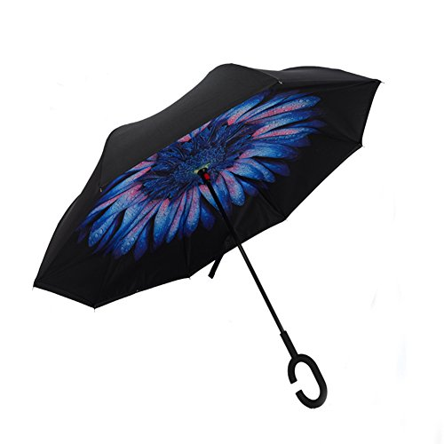 Umbrella C-shaped handle Windproof Reverse Folding Double Layer Inverted Umbrella Double Reverse umbrella and Self Standing Inside Out Rain Protection Umbrella (Purple) (Blue lover) (Umbrella Solar Protection compare prices)